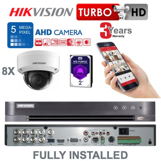 Hikvision 5MP 8 x AHD Camera CCTV System Fully Fitted