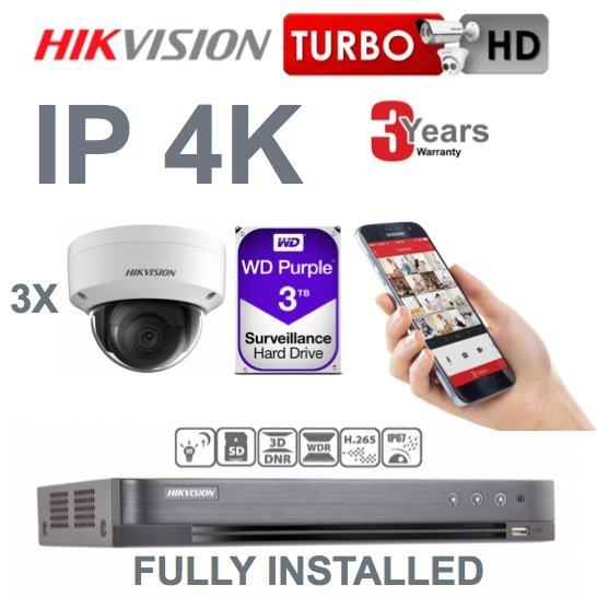 3 x Camera Hikvision 4K Ultra HD IP CCTV System Supply and Installed