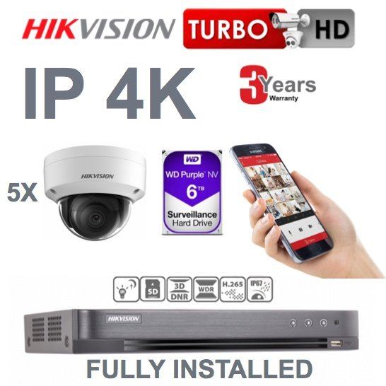 5 x Camera Hikvision 4K Ultra HD IP CCTV System Supply and Installed