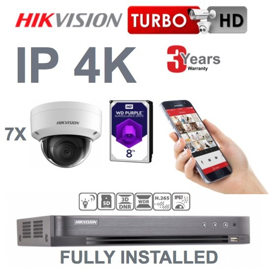 7 x Camera Hikvision 4K Ultra HD IP CCTV System Supply and Installed