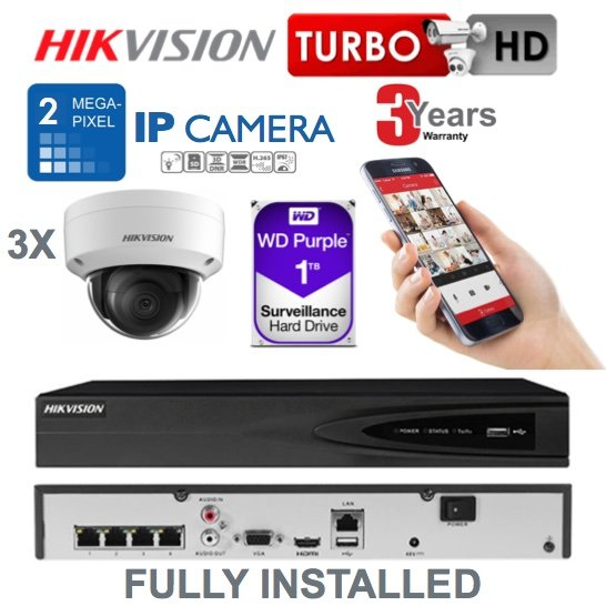 3 x Camera Hikvision 2MP IP CCTV System Supply & Installed