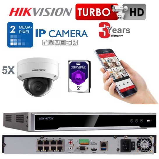 5 x Camera Hikvision 2MP IP CCTV System Supply & Installed