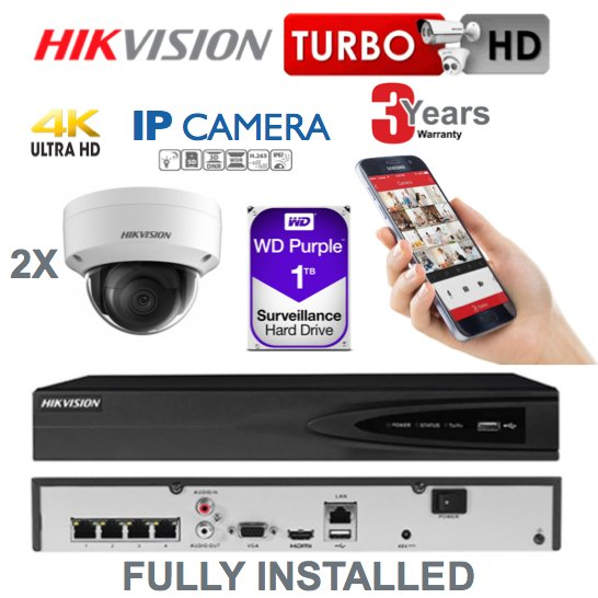 2 x Camera Hikvision 4K Ultra HD IP CCTV System Supply and Installed