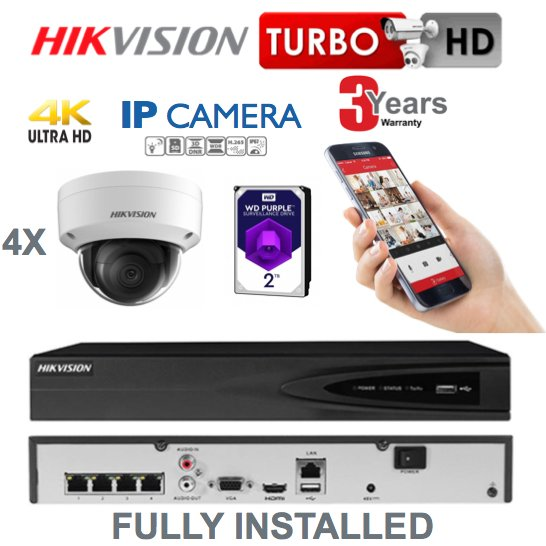 4 x Camera Hikvision 4K Ultra HD IP CCTV System Supply and Installed