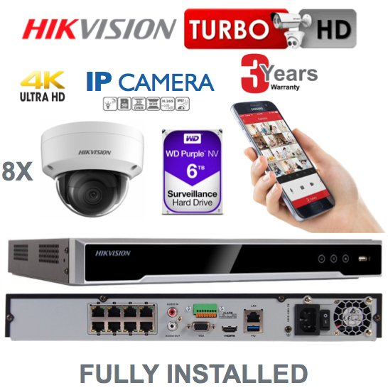 8 x Camera Hikvision 4K Ultra HD IP CCTV System Supply and Installed
