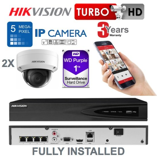 2 x Camera Hikvision 5MP IP CCTV System Supply and Installed