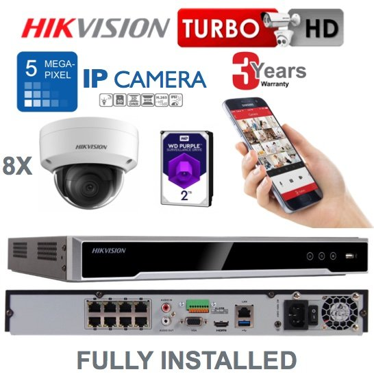 8 x Camera Hikvision 5MP IP CCTV System Supply and Installed