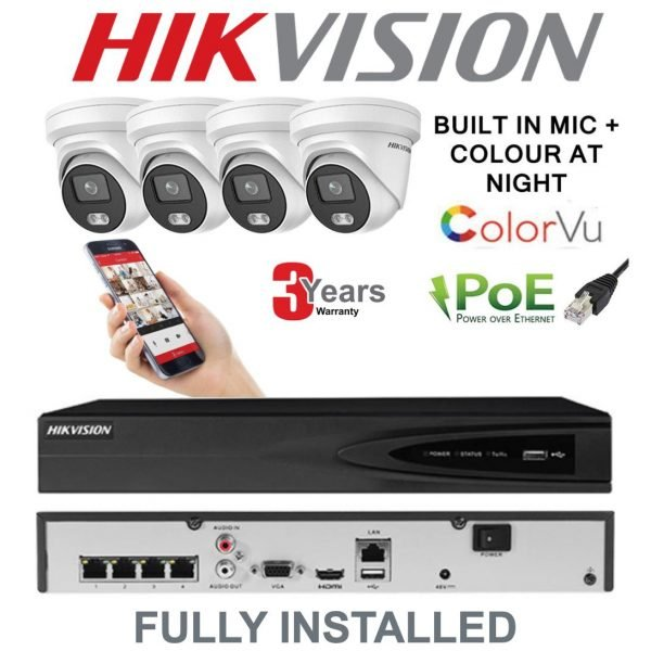 4 X Hikvision ColorVu 4MP IP Camera Systems
