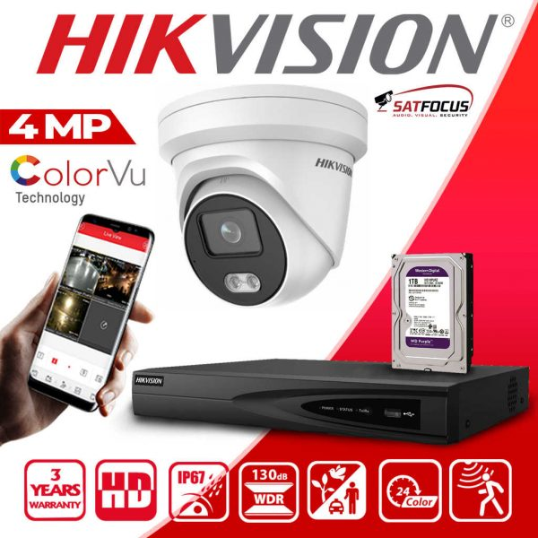 HIKVISION IP 4MP ColorVu CCTV Security Camera package