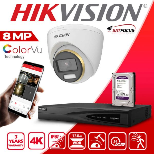 HIKVISION IP 8MP 4K ColorVu CCTV Security Camera package