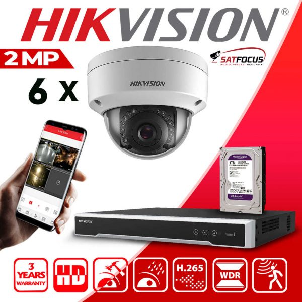 HIKVISION HIWATCH 8CH DVR OUTDOOR 2MP Dome CCTV Camera KIT