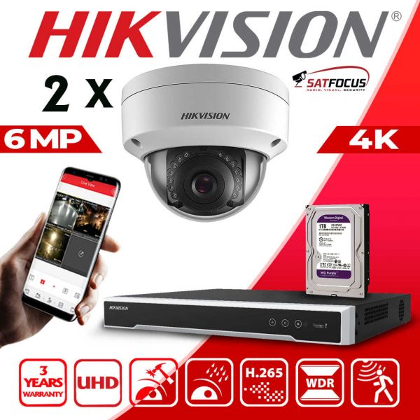 HIKVISION 6MP IP POE SYSTEM 4K UHD 4CH NVR CCTV DOME VANDAL PROOF OUTDOOR 2 CAMERA KIT