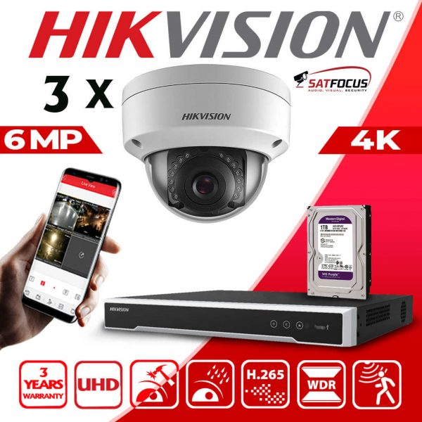 HIKVISION 6MP IP POE SYSTEM 4K UHD 4CH NVR CCTV DOME VANDAL PROOF OUTDOOR 3 CAMERA KIT